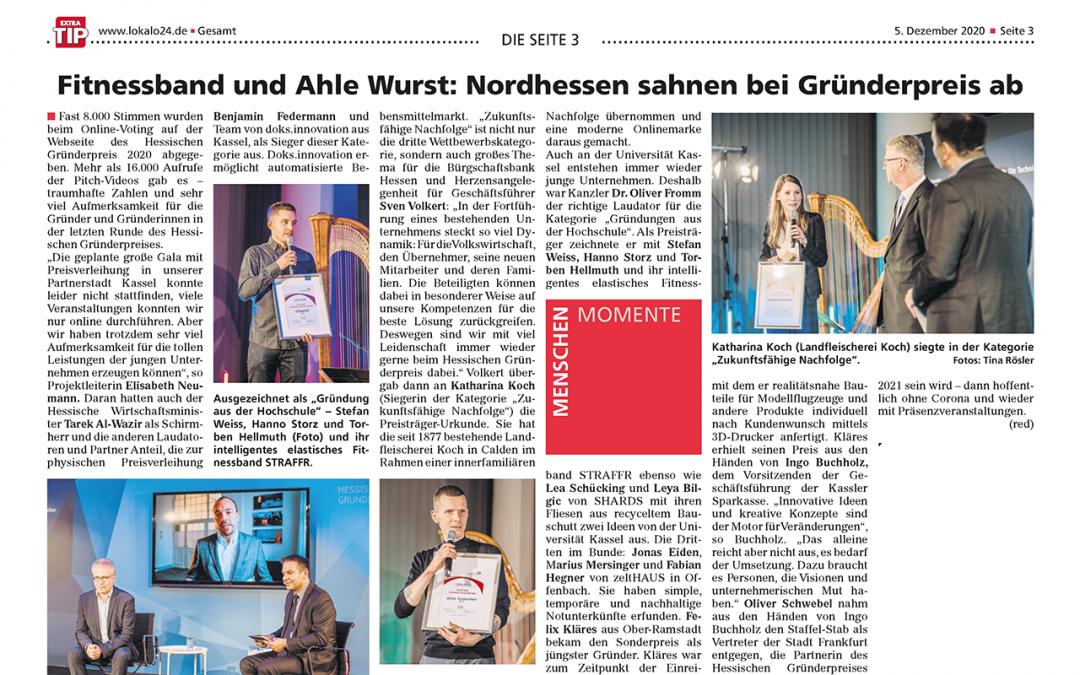 Fitnessband und Ahle Wurst: Nordhessen sahnen bei Gründerpreis ab (ExtraTip, 5. Dezember 2020)